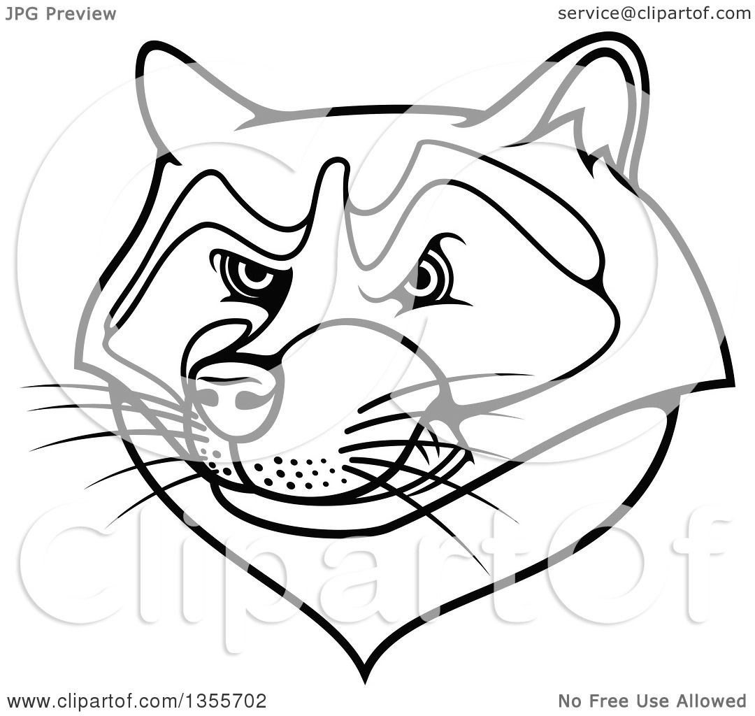 Clipart Of A Black And White Tough Raccoon Mascot Head