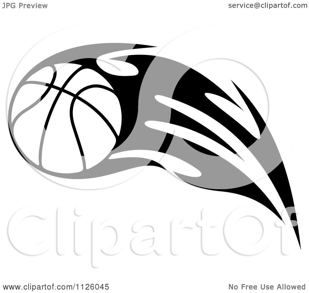 Clipart Of A Black And White Tribal Flaming Basketball 6