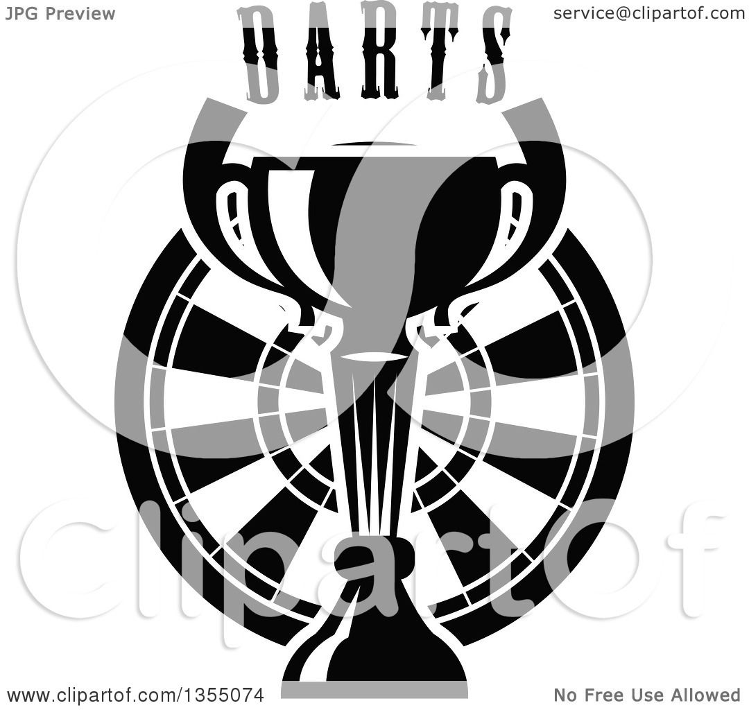 Clipart Of A Black And White Trophy Cup Over A Dart Board