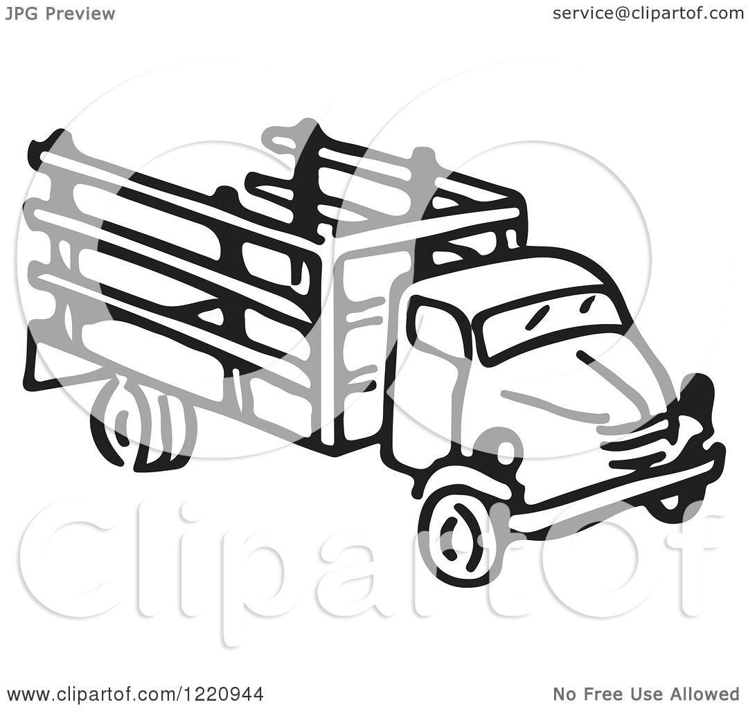 Clipart Of A Black And White Truck