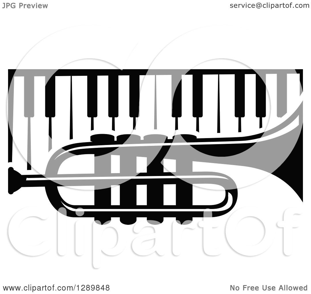 Clipart of a Black and White Trumpet over Piano Keys