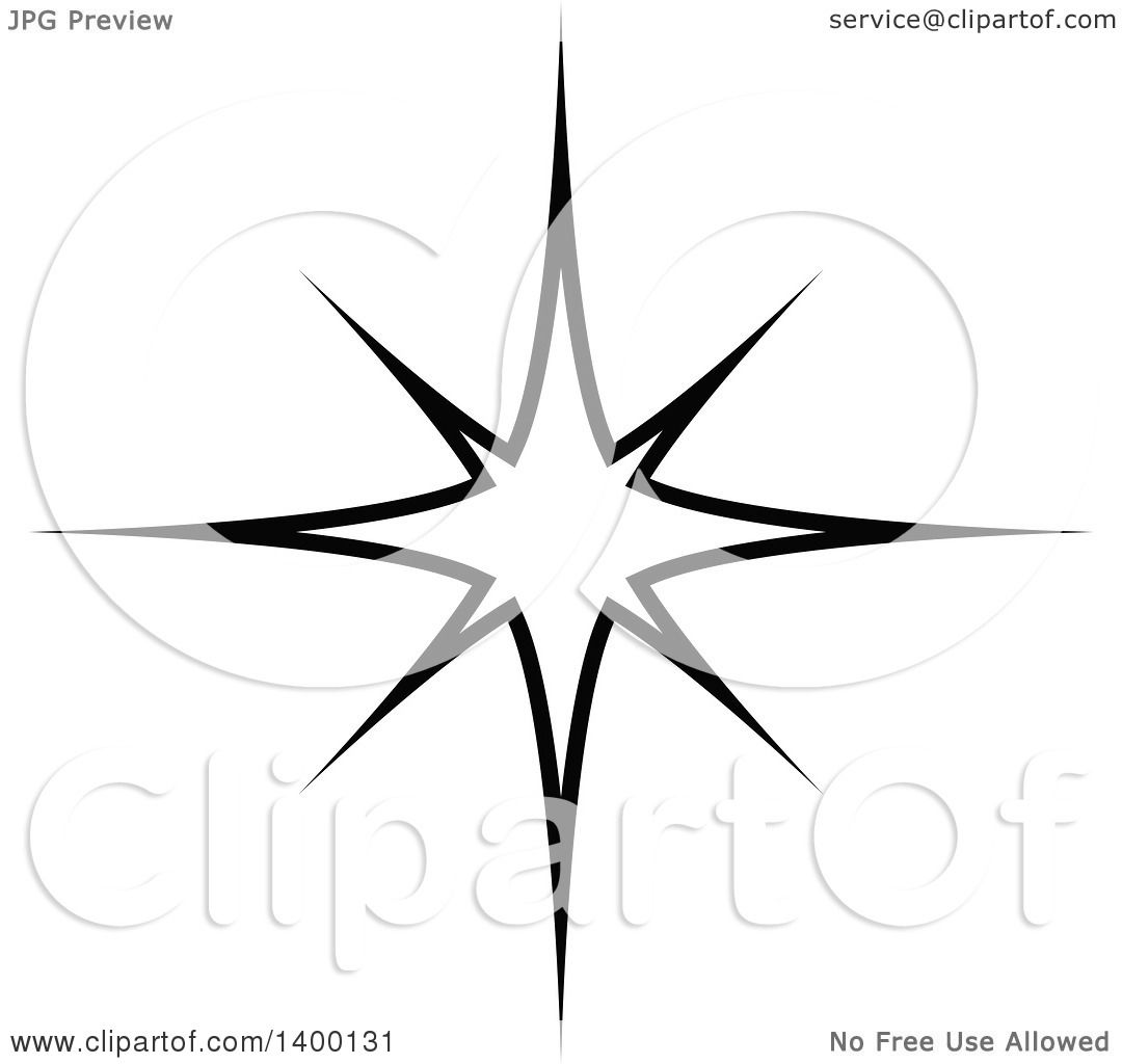 Clipart Of A Black And White Twinkling Star