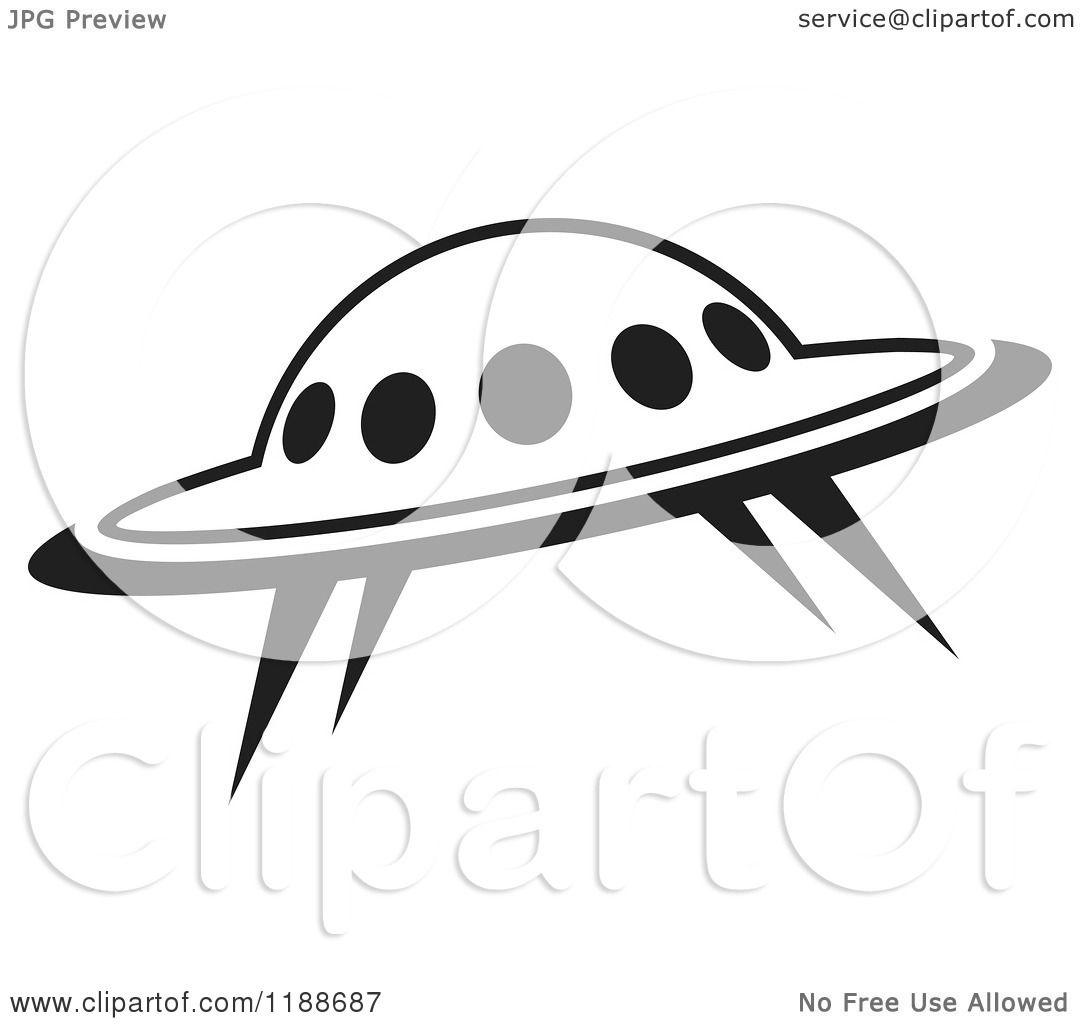 Clipart Of A Black And White Ufo Icon