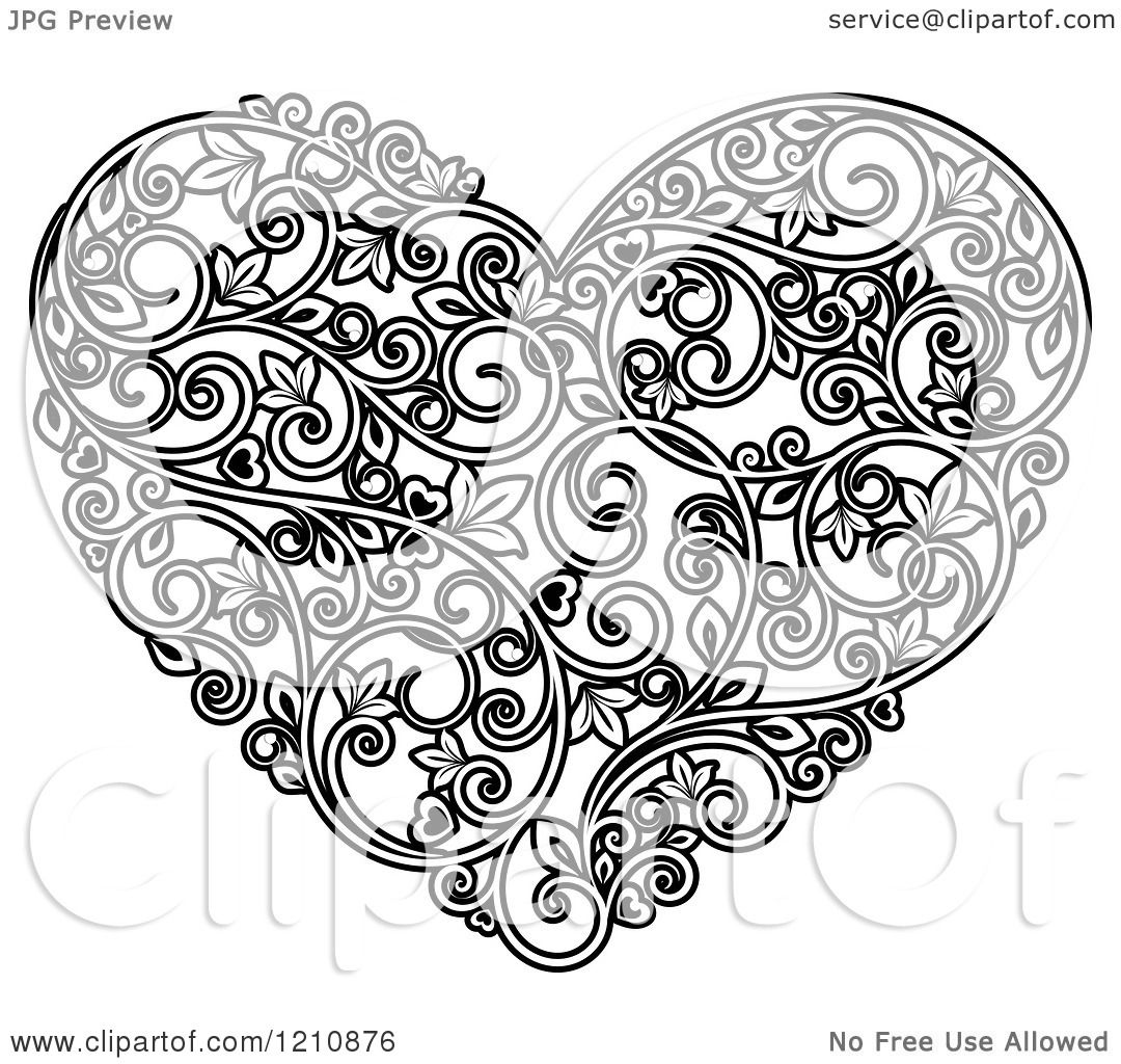 Clipart Of A Black And White Vine Floral Heart