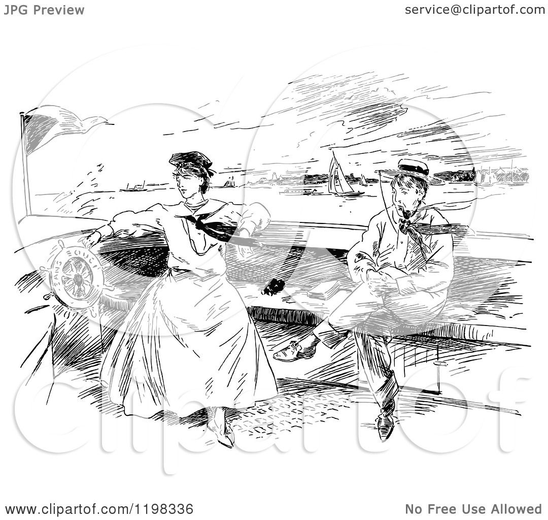 Clipart Of A Black And White Vintage Boating Couple