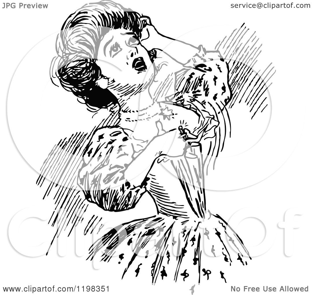 Clipart Of A Black And White Vintage Dramatic Woman