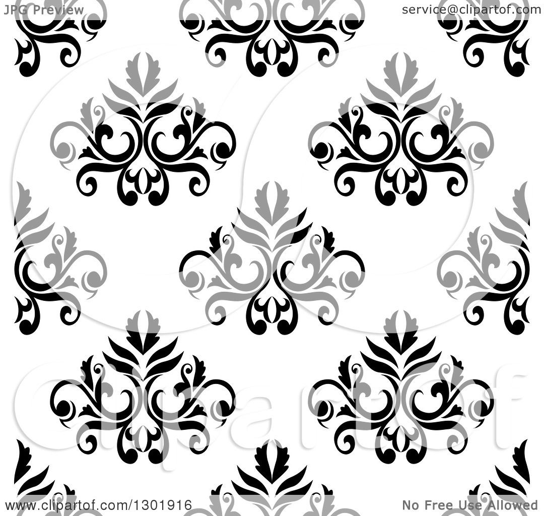 Clipart Of A Black And White Vintage Seamless Floral Background Pattern 4