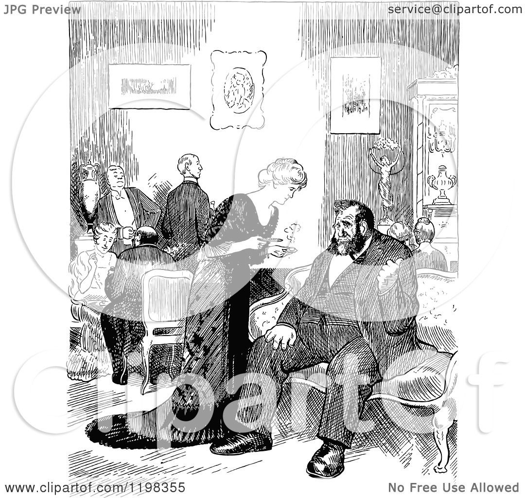 Clipart of a Black and White Vintage Social Gathering in a