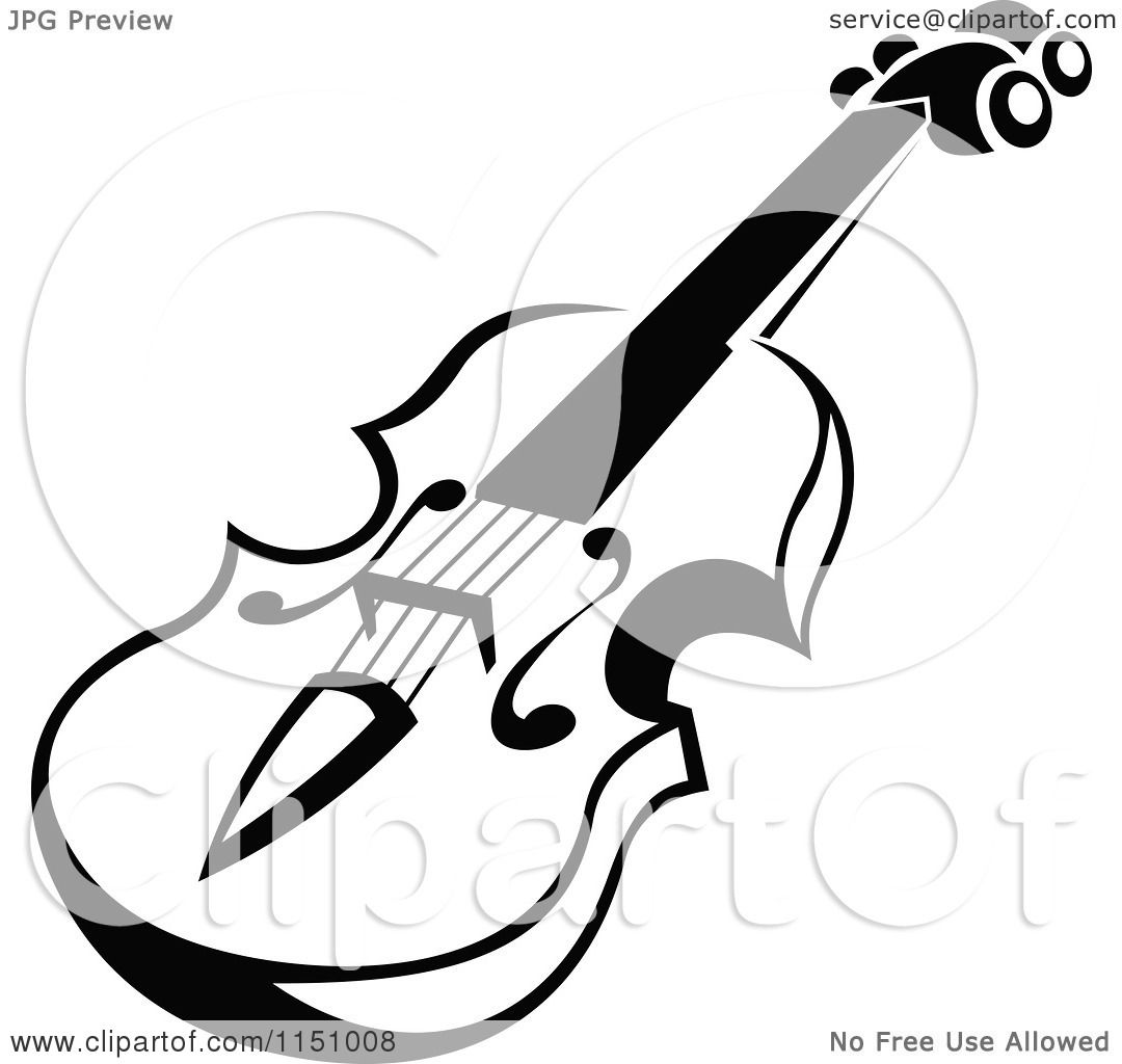 Clipart Of A Black And White Viola Or Fiddle Violin 5