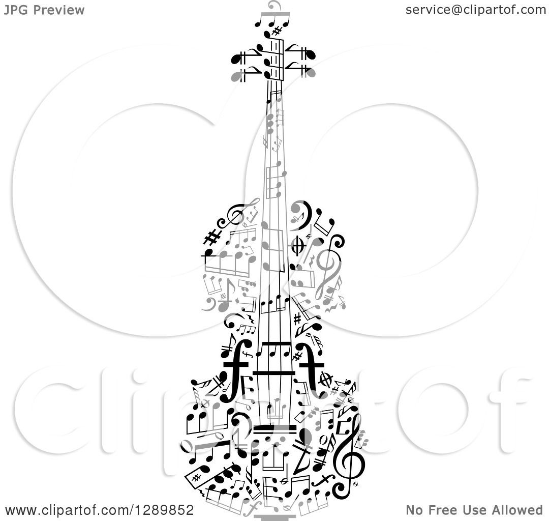 Clipart Of A Black And White Violin Made Of Music Notes