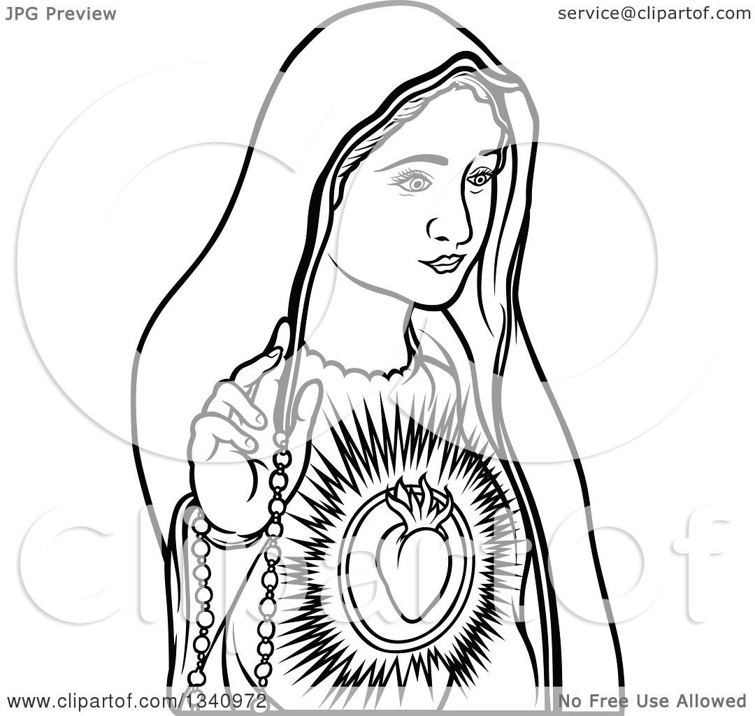 Clipart Of A Black And White Virgin Mary 3 Royalty Free