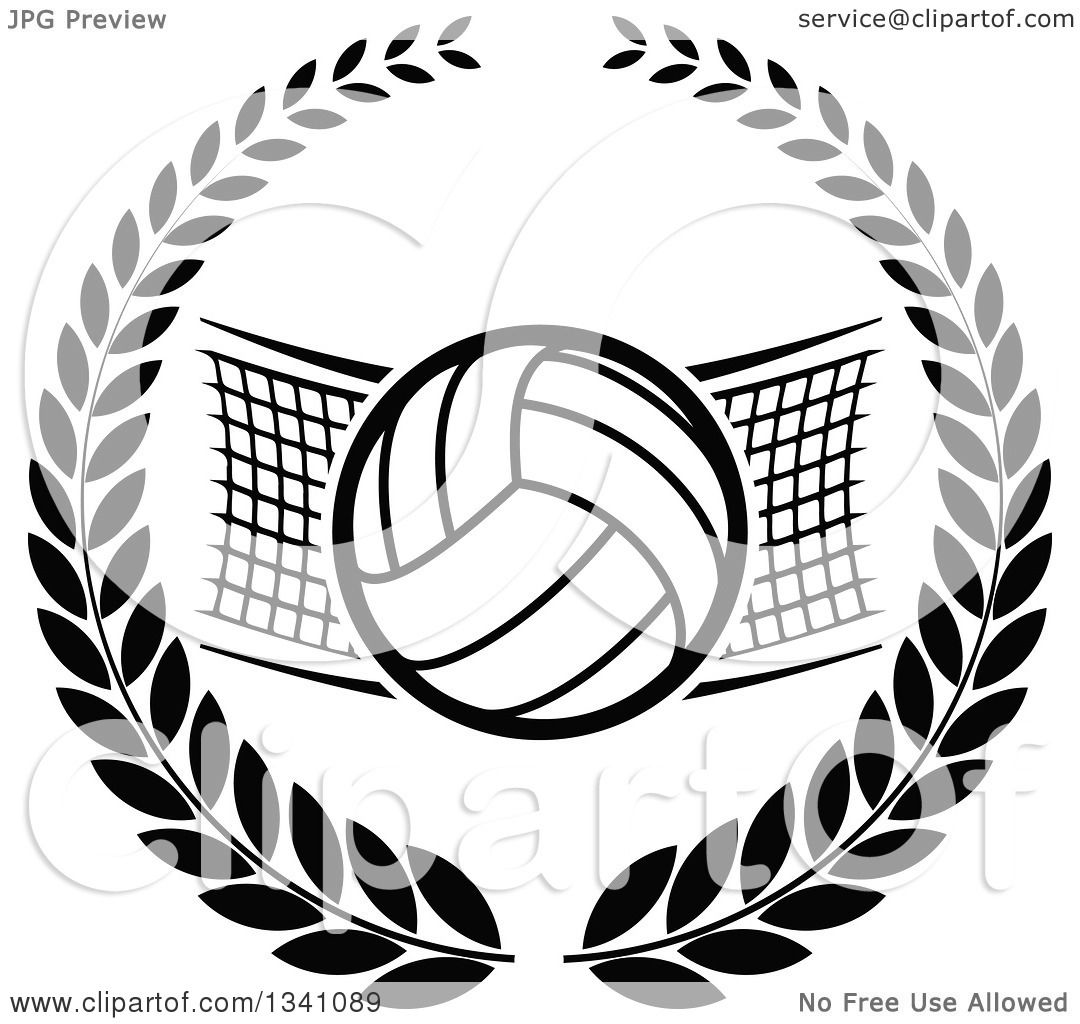 Clipart Of A Black And White Volleyball And Net In A