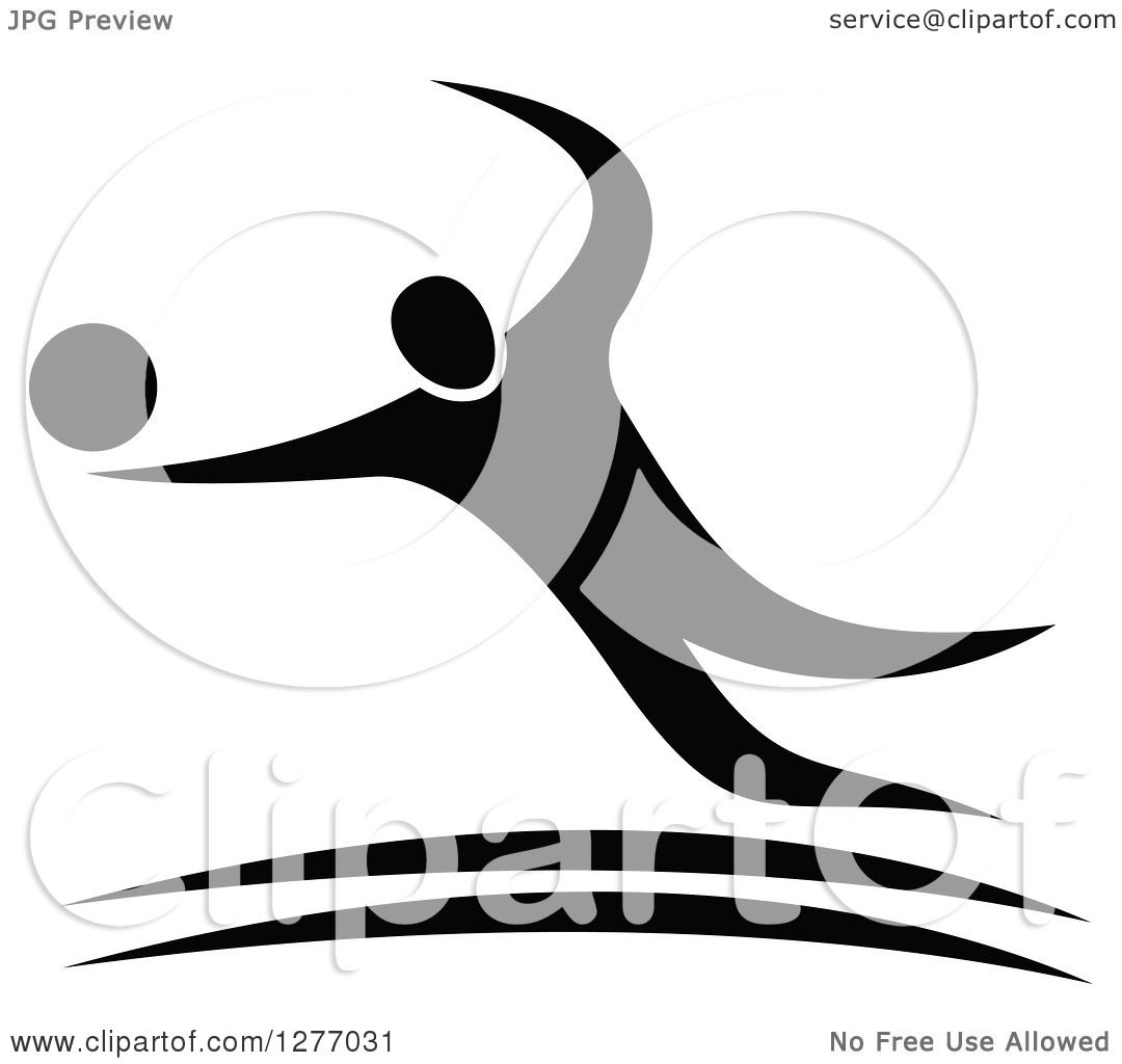 Clipart Of A Black And White Volleyball Player In Action