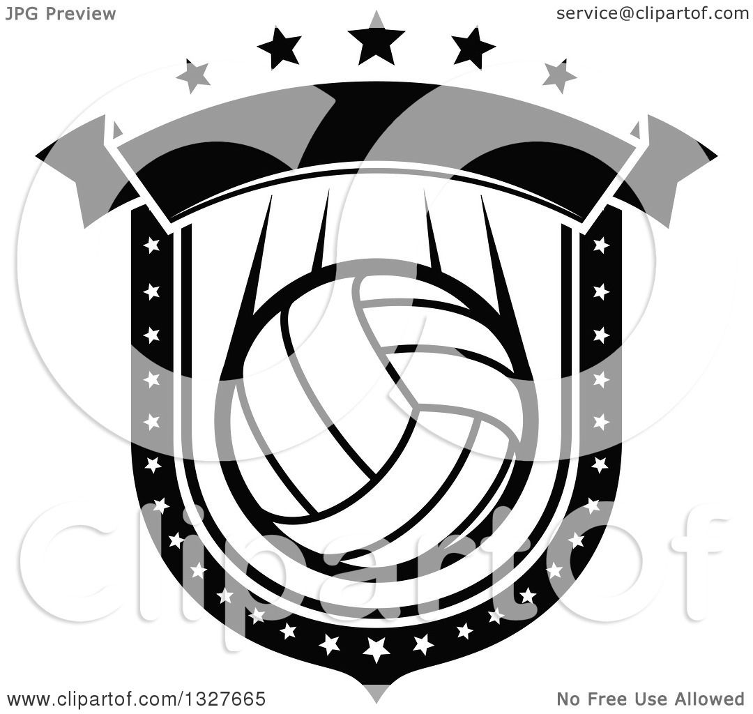 Clipart Of A Black And White Volleyball Shield With Stars