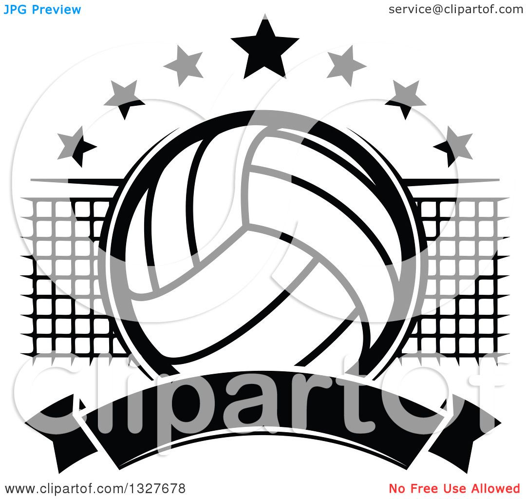 Clipart Of A Black And White Volleyball With Stars A Net