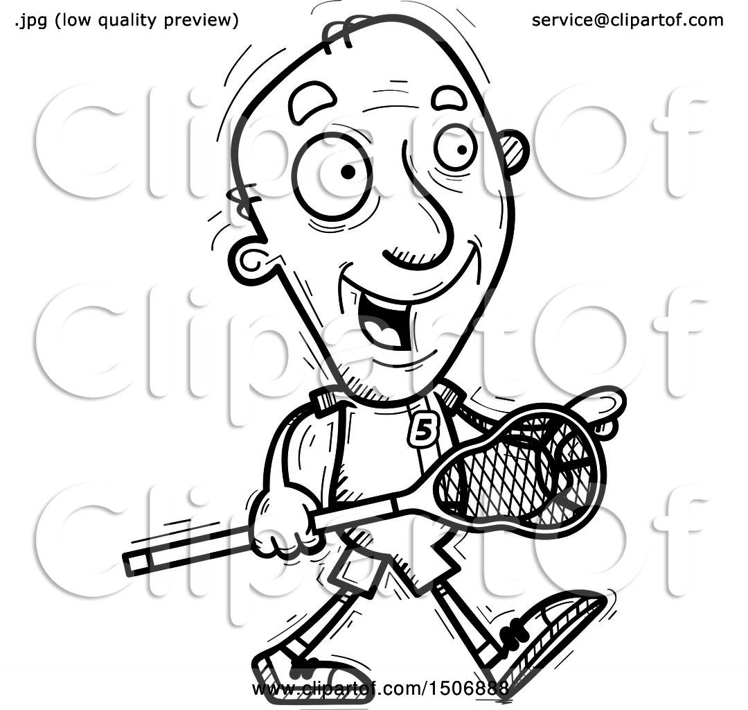 Clipart Of A Black And White Walking Senior Male Lacrosse