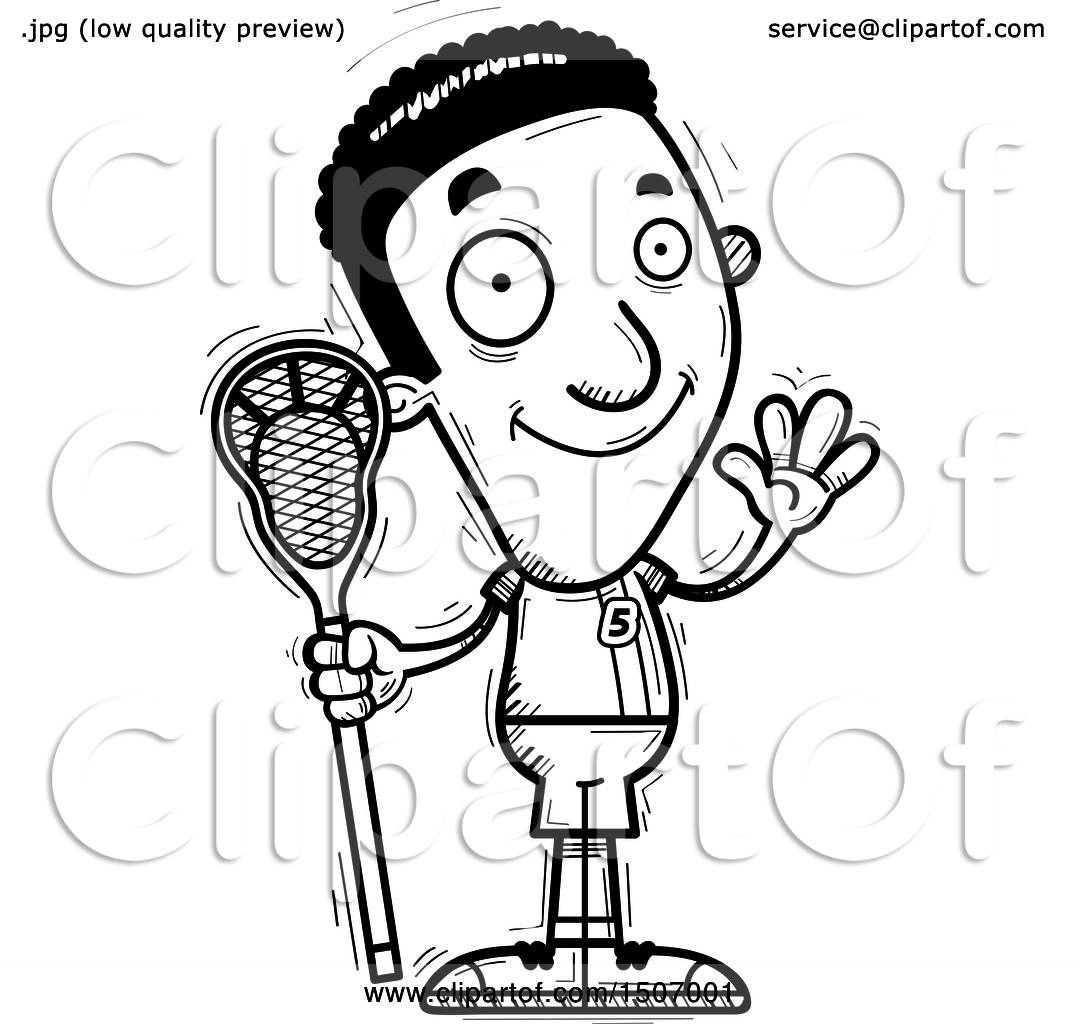 Clipart Of A Black And White Waving Black Male Lacrosse