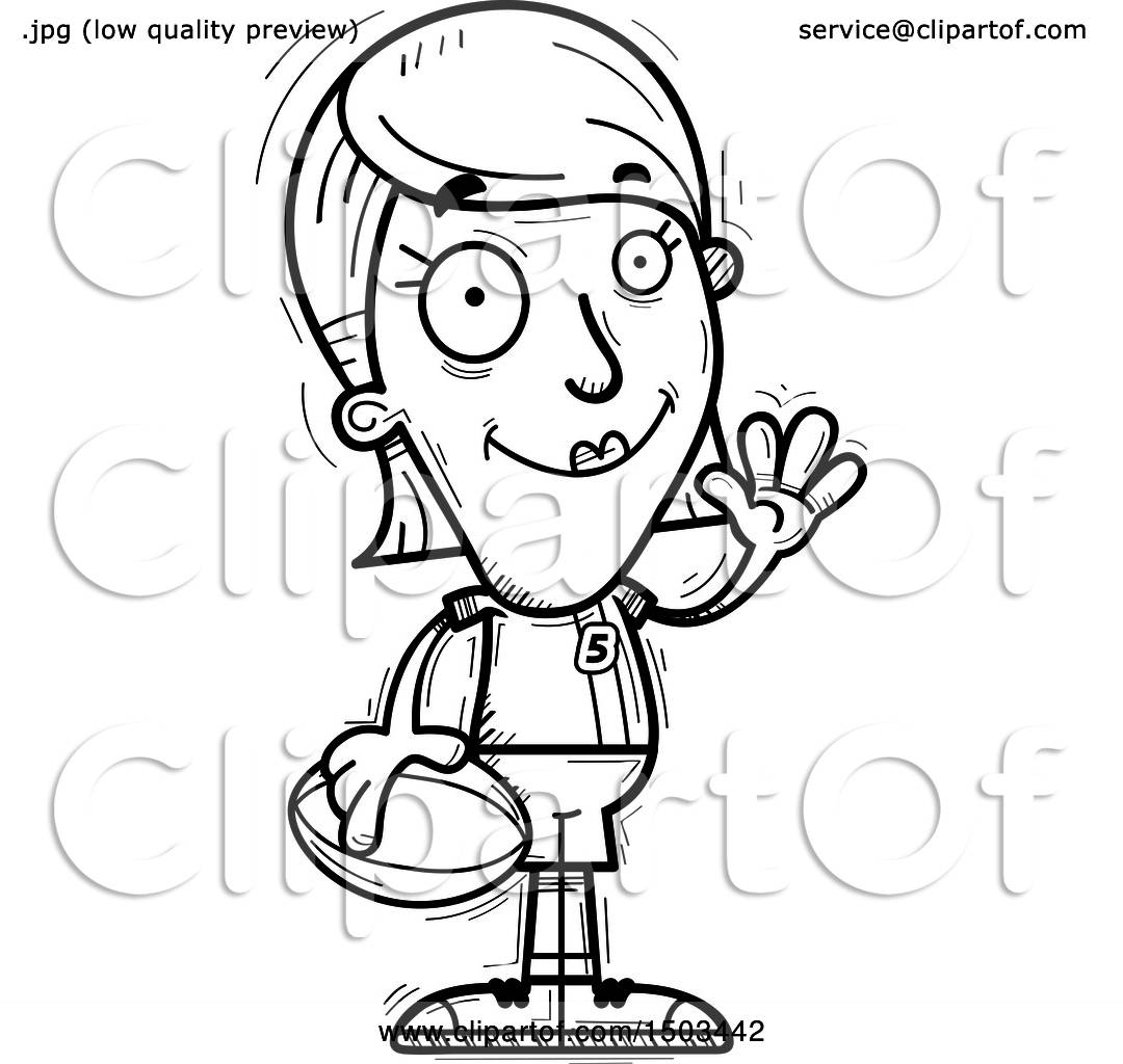 Clipart Of A Black And White Waving White Female Rugby