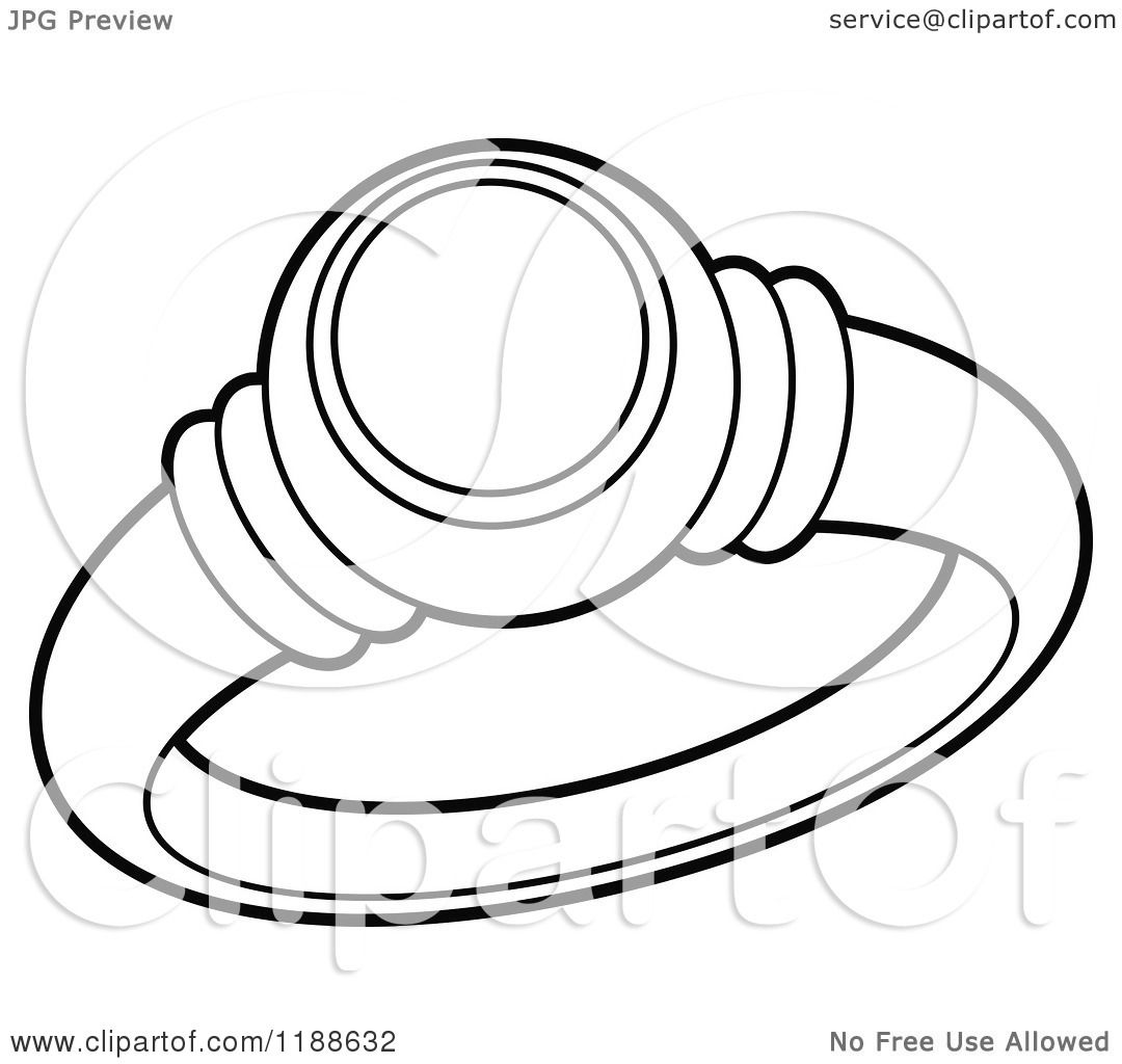 Clipart Of A Black And White Wedding Ring