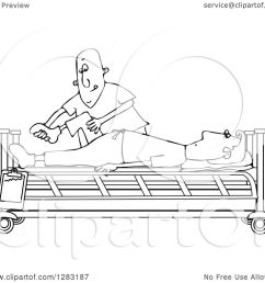 clipart of a black and white white male nurse helping a guy patient stretch for physical therapy recovery in a hospital bed royalty free vector  [ 1080 x 1024 Pixel ]
