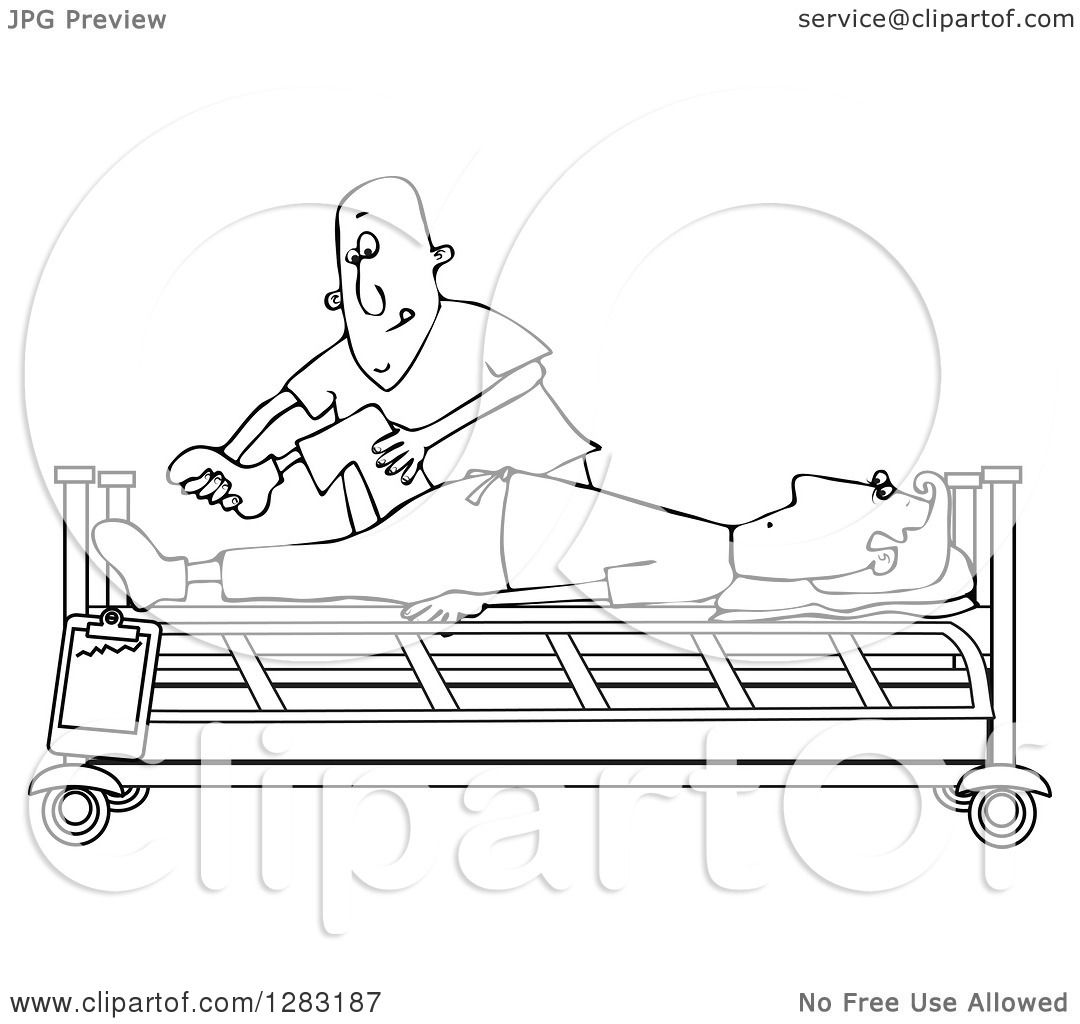 hight resolution of clipart of a black and white white male nurse helping a guy patient stretch for physical therapy recovery in a hospital bed royalty free vector