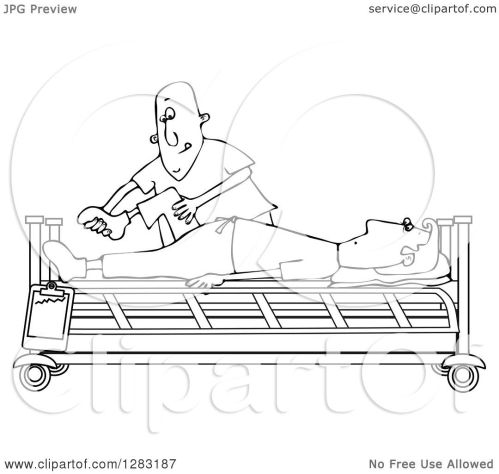 small resolution of clipart of a black and white white male nurse helping a guy patient stretch for physical therapy recovery in a hospital bed royalty free vector