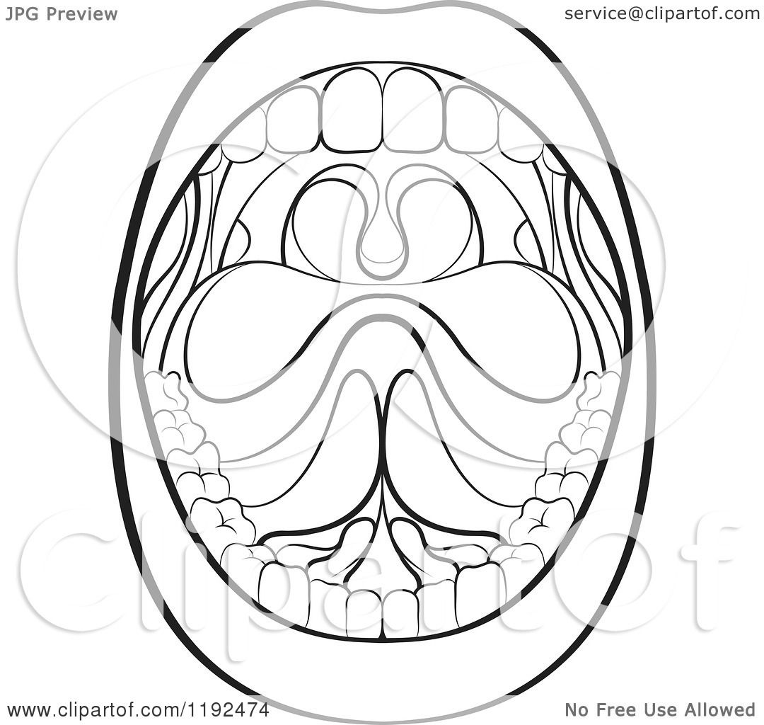 Clipart Of A Black And White Wide Open Mouth