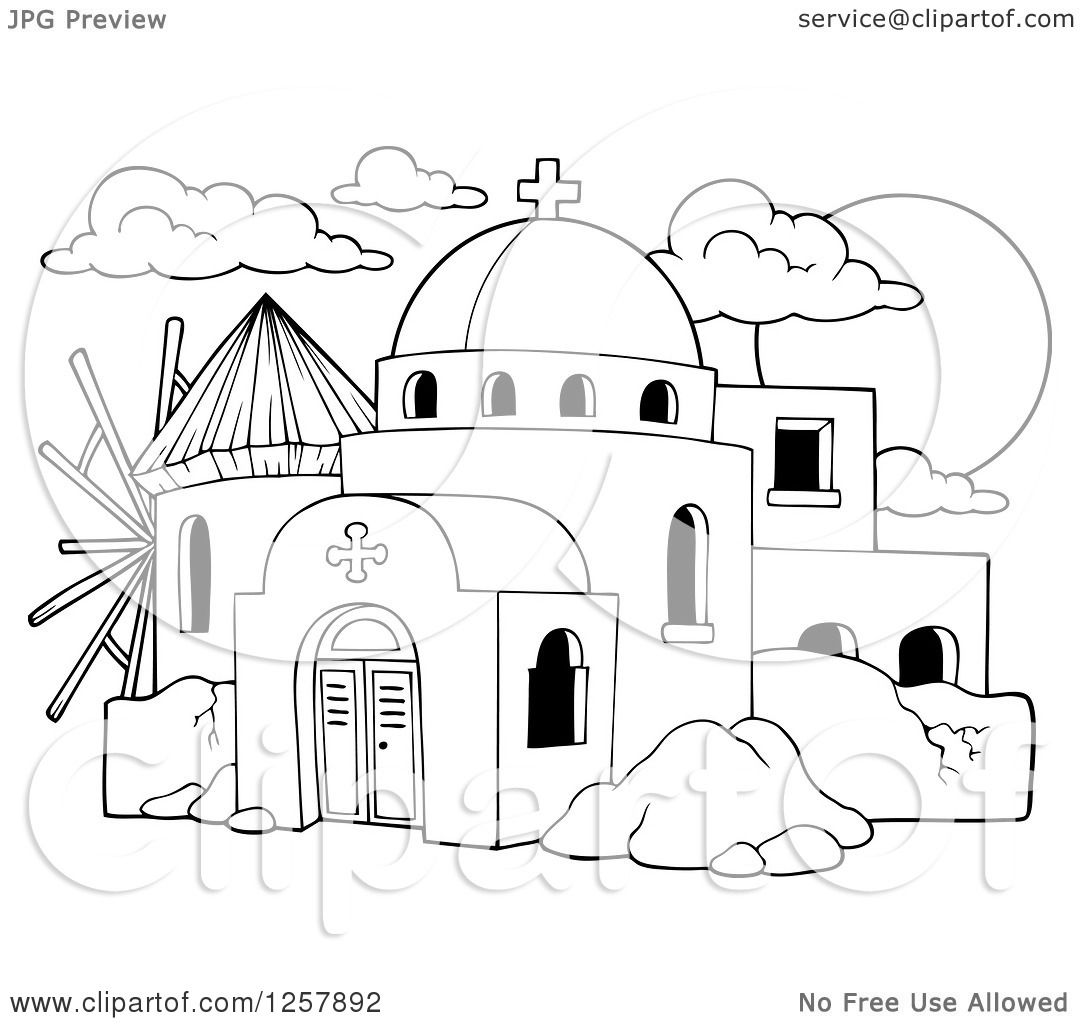 Clipart Of A Black And White Windmill And A Greek Church