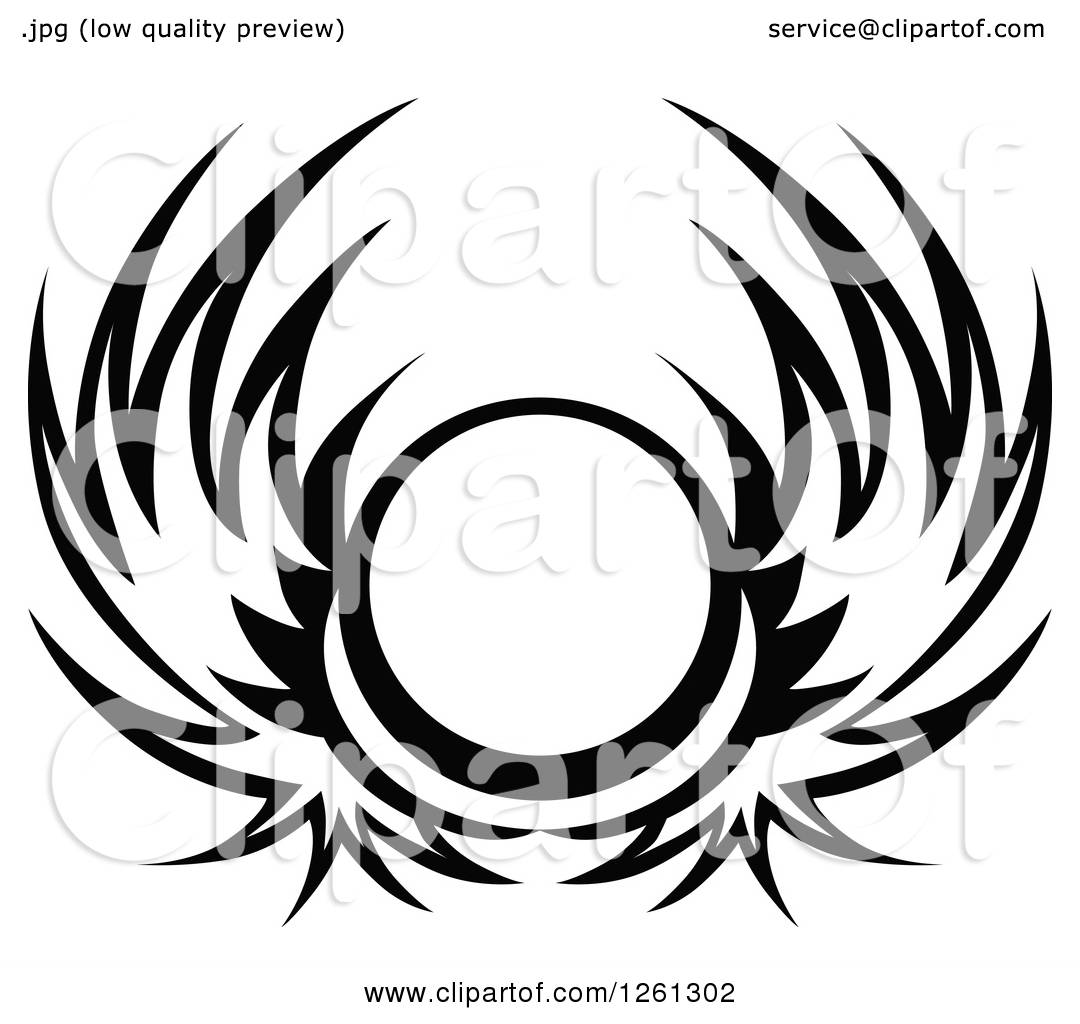 Clipart Of A Black And White Wing Shield