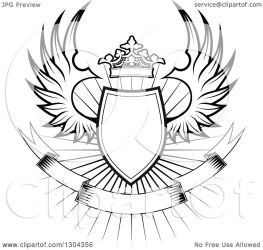 shield banner crown clipart burst vector royalty winged illustration tradition sm