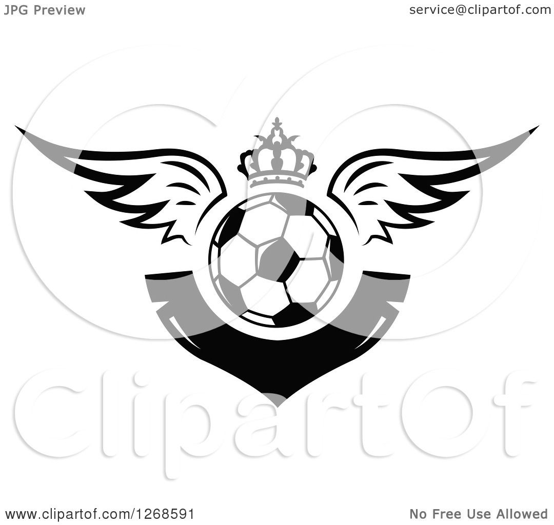 Clipart Of A Black And White Winged Soccer Ball With A