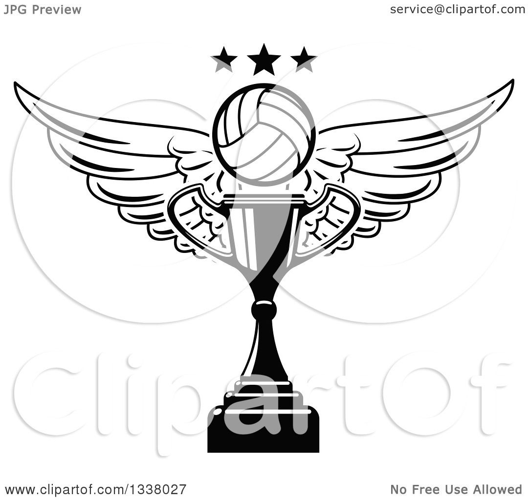 Clipart Of A Black And White Winged Volleyball And Stars