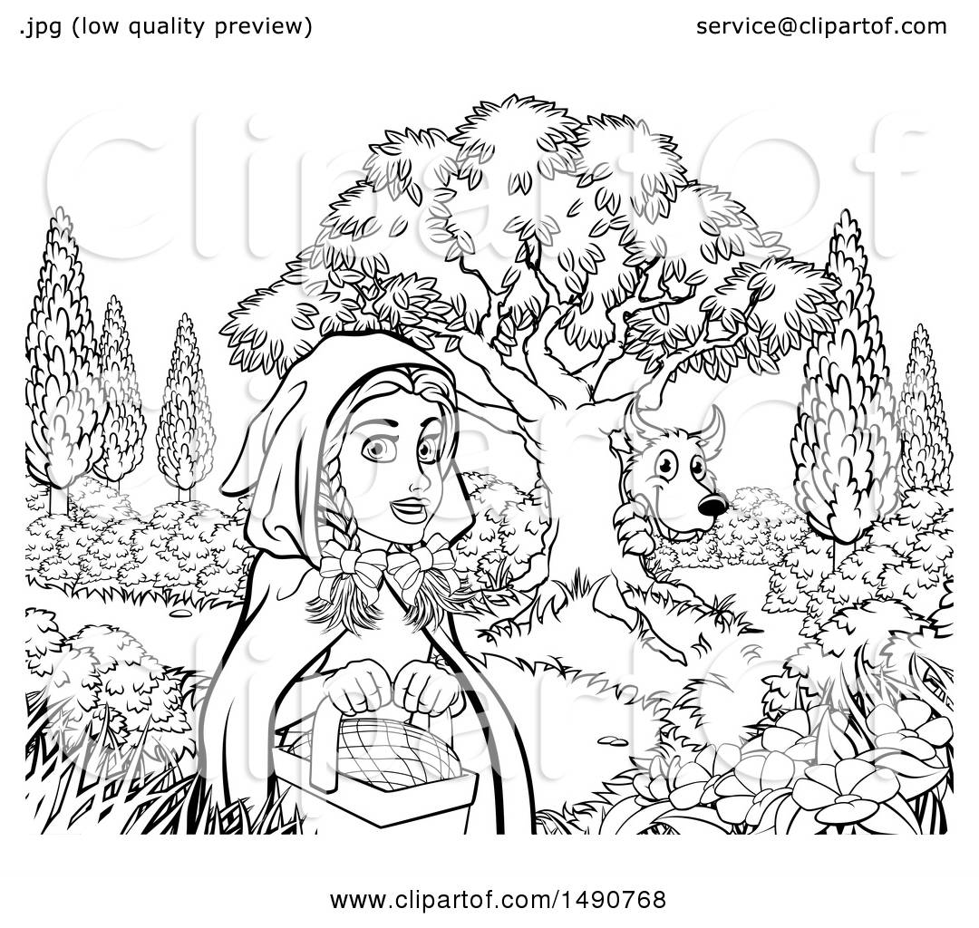 Clipart Of A Black And White Wolf Stalking Little Red