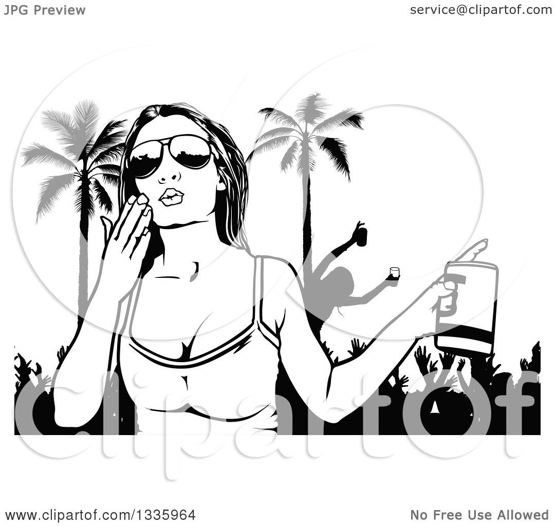 Clipart Of A Black And White Woman Wearing Sunglasses Holding A Beer And Blowing A Kiss Over