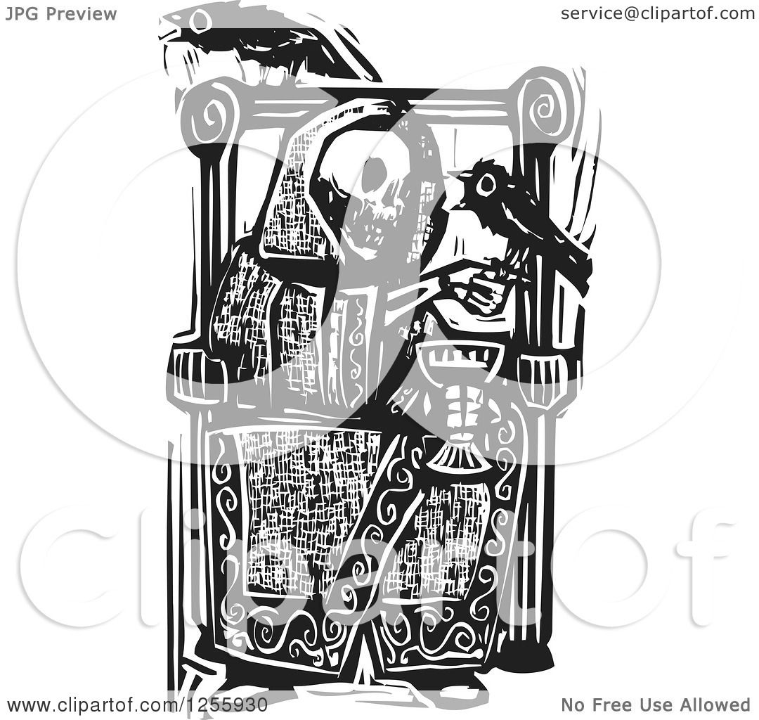Clipart Of A Black And White Woodcut Skeleton Drinking Wine With Ravens At A Throne