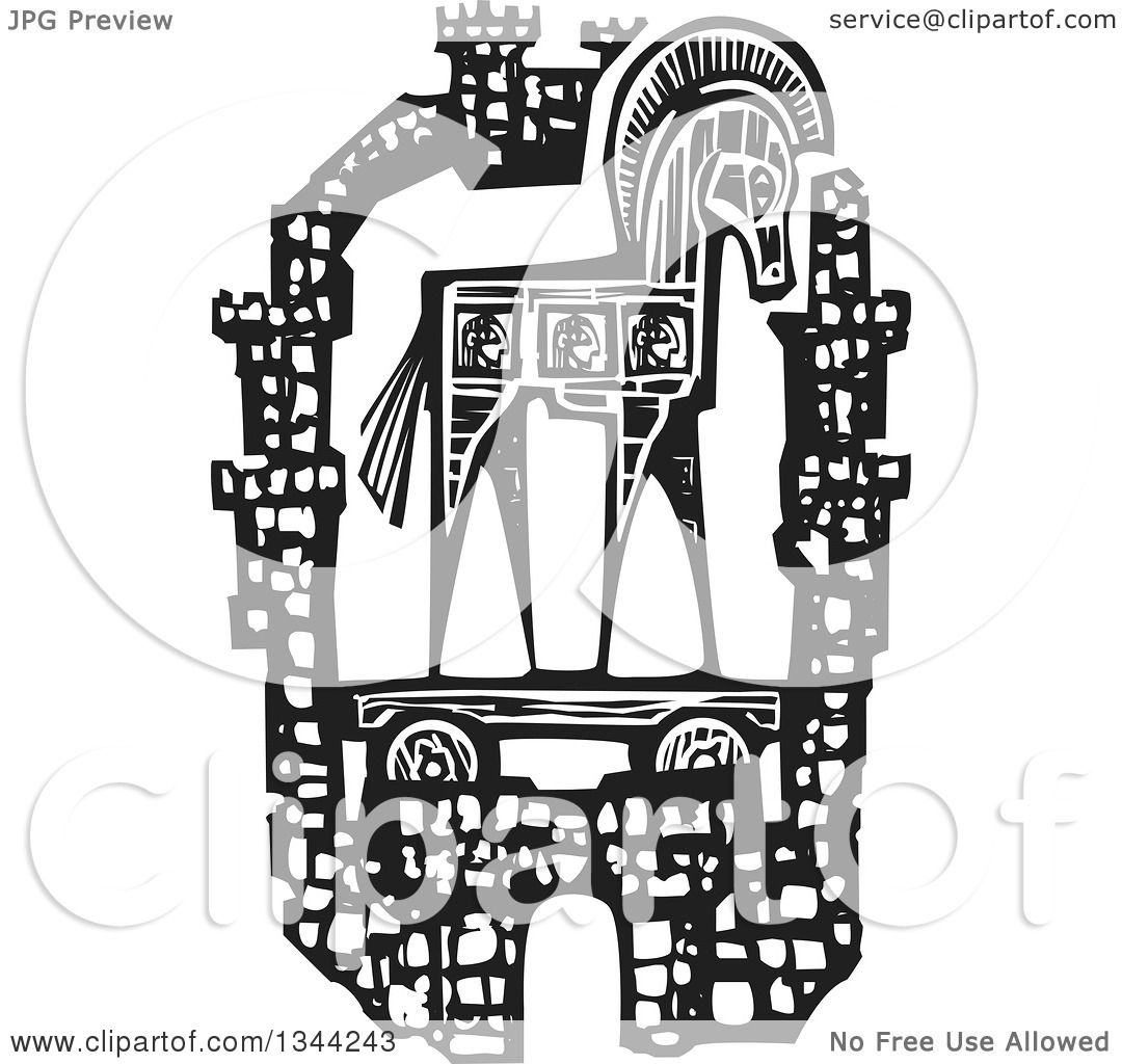 Clipart Of A Black And White Woodcut Greek Trojan Horse