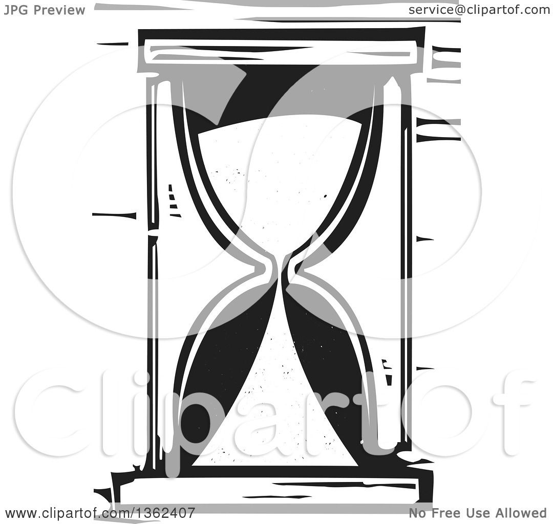 hight resolution of clipart of a black and white woodcut hourglass royalty free vector illustration by xunantunich