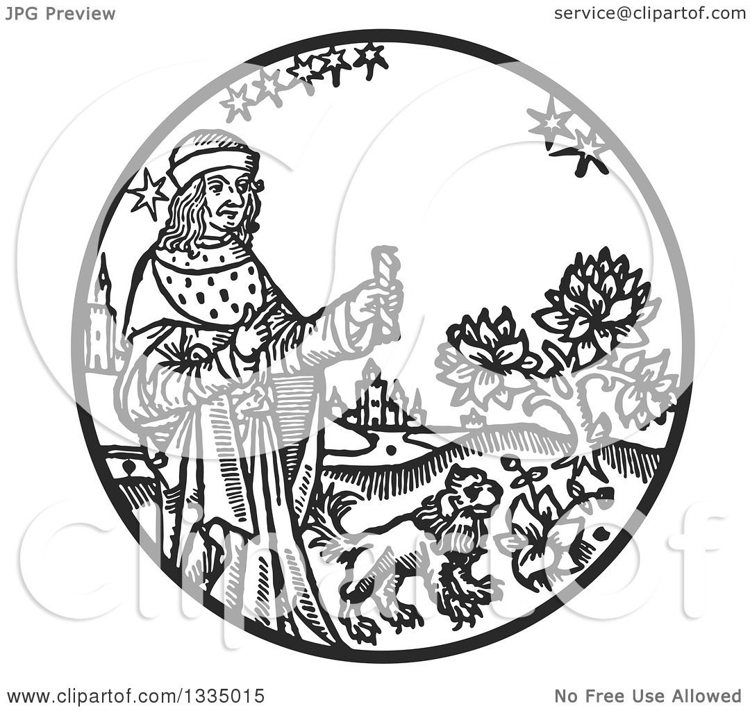 Clipart Of A Black And White Woodcut Me Val King Holding