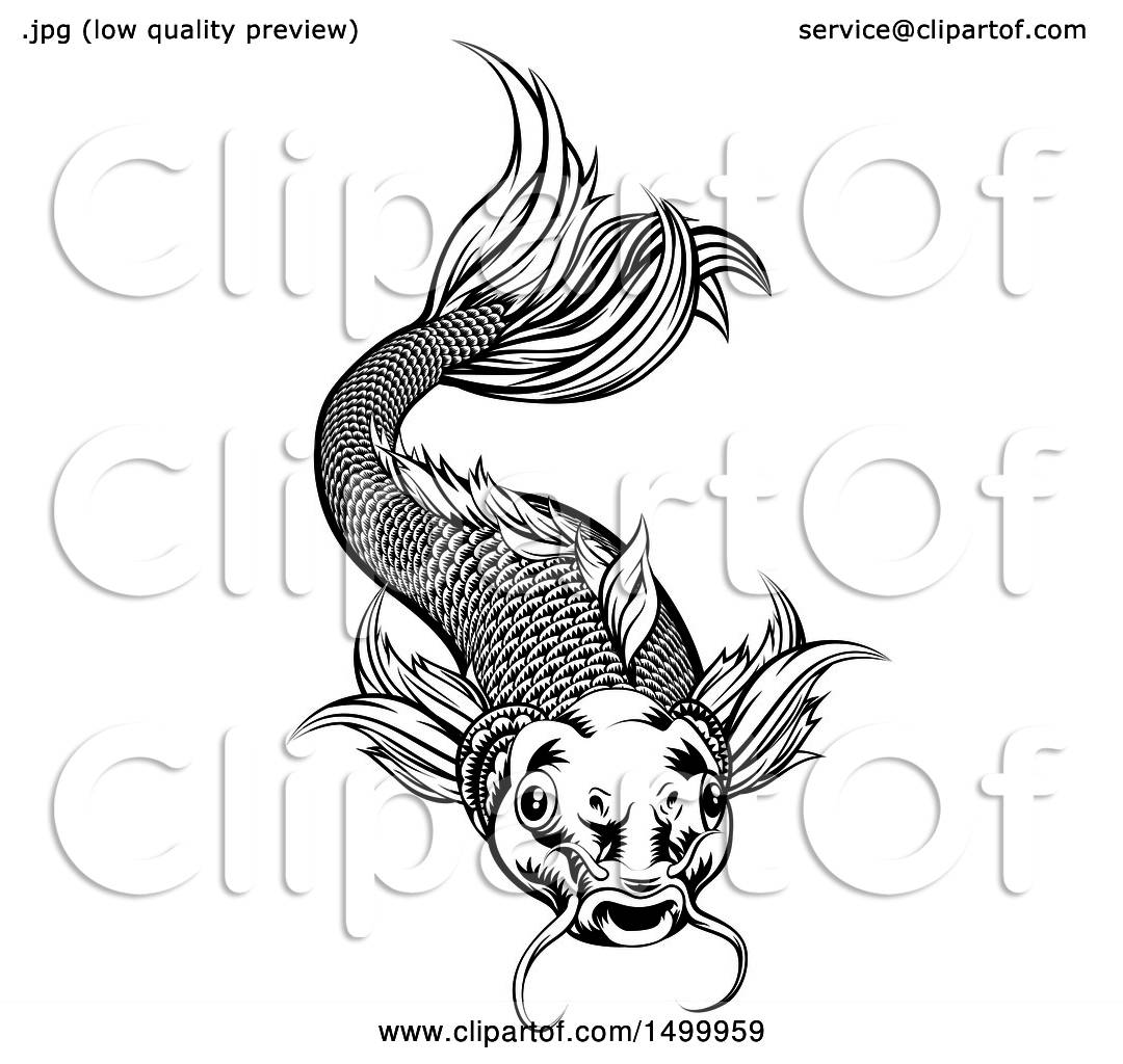 Clipart Of A Black And White Woodcut Swimming Koi Fish