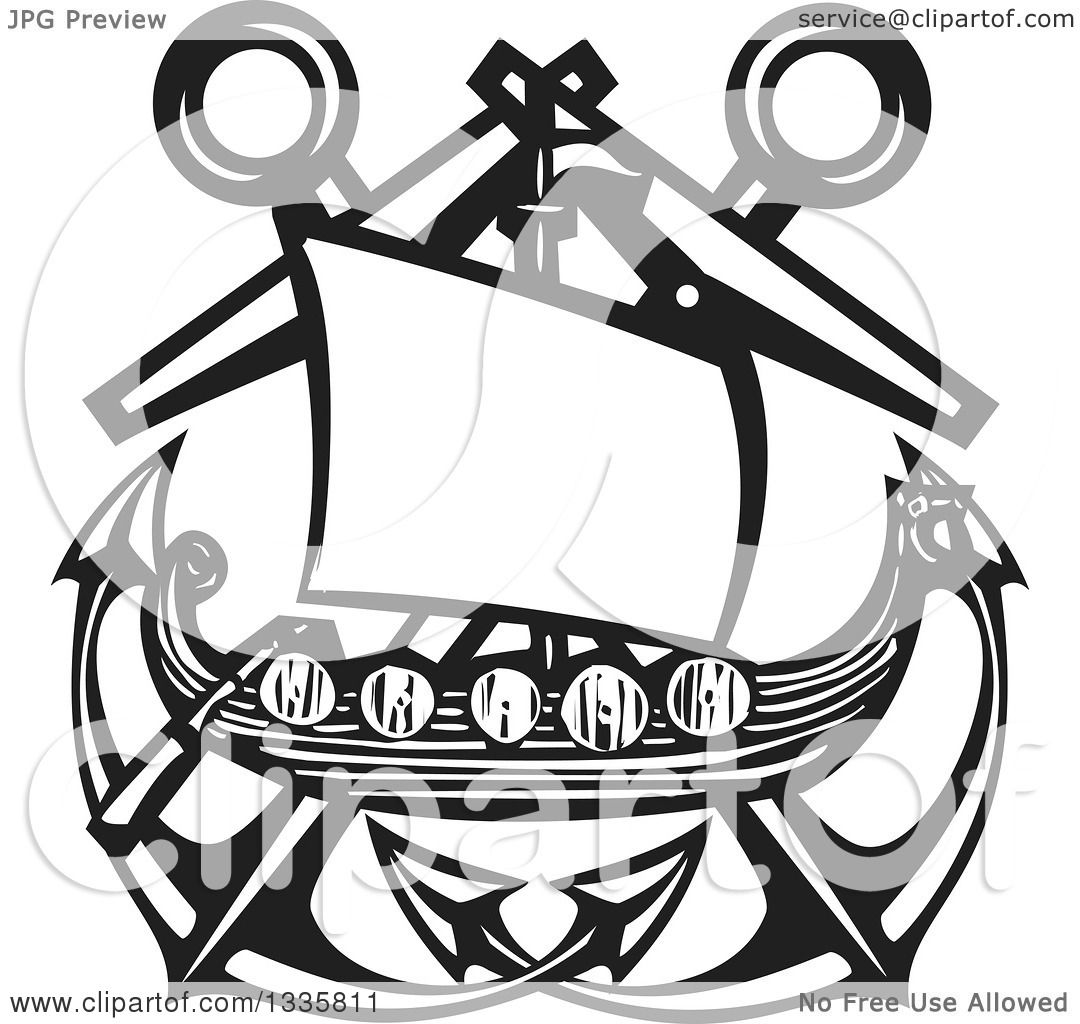 Clipart Of A Black And White Woodcut Viking Ship Over