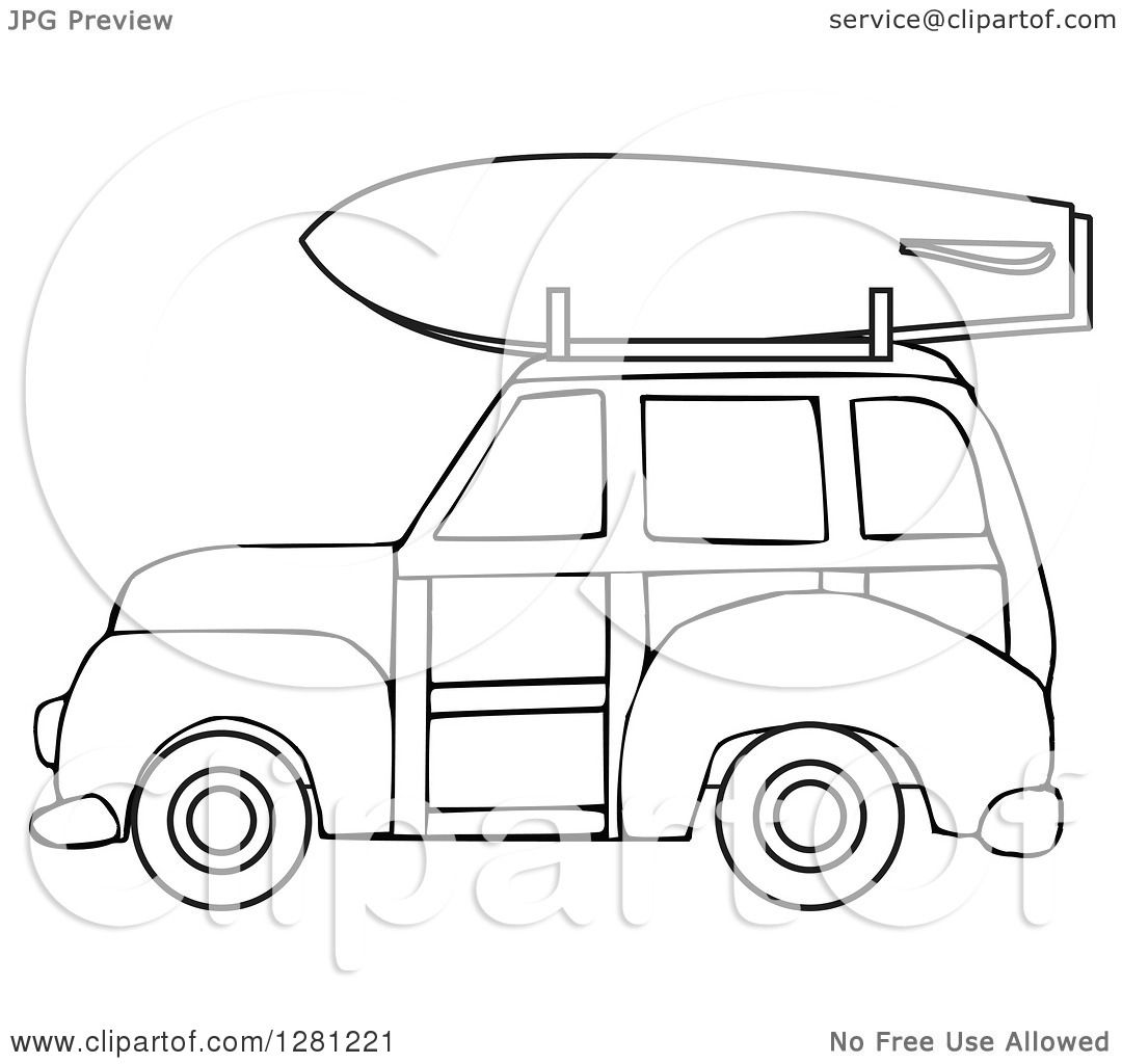Clipart Of A Black And White Woostation Wagon With A