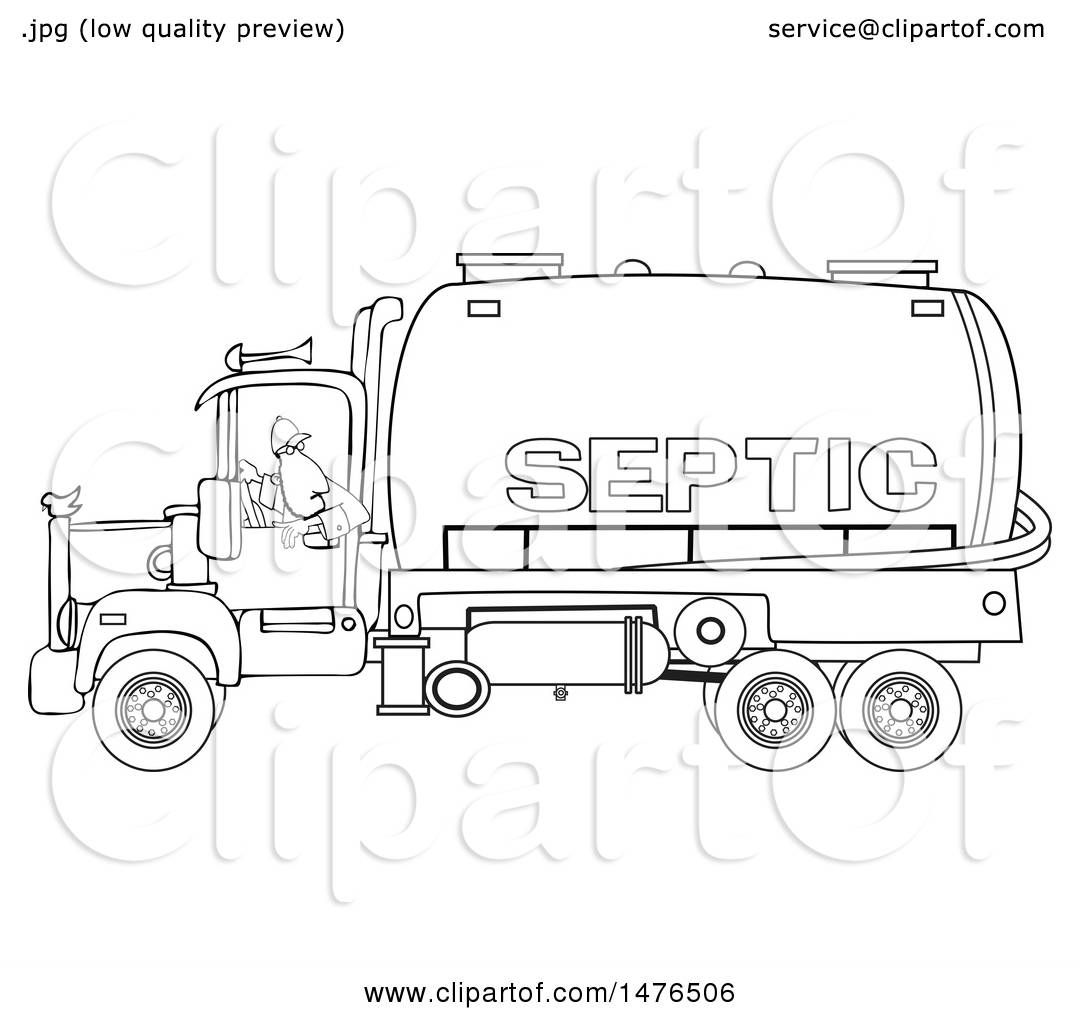 Clipart of a Black and White Worker Backing up a Septic