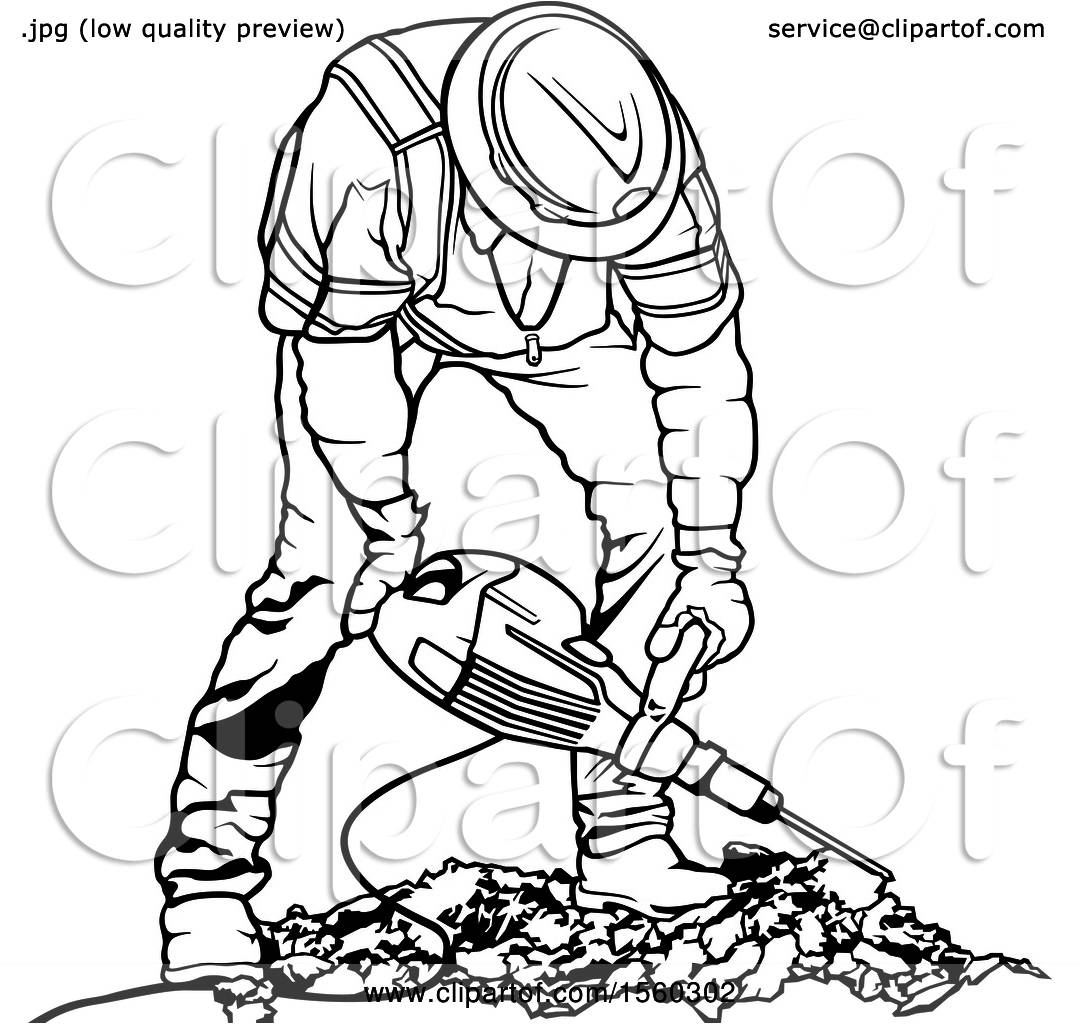 Clipart of a Black and White Worker Operating a Pneumatic