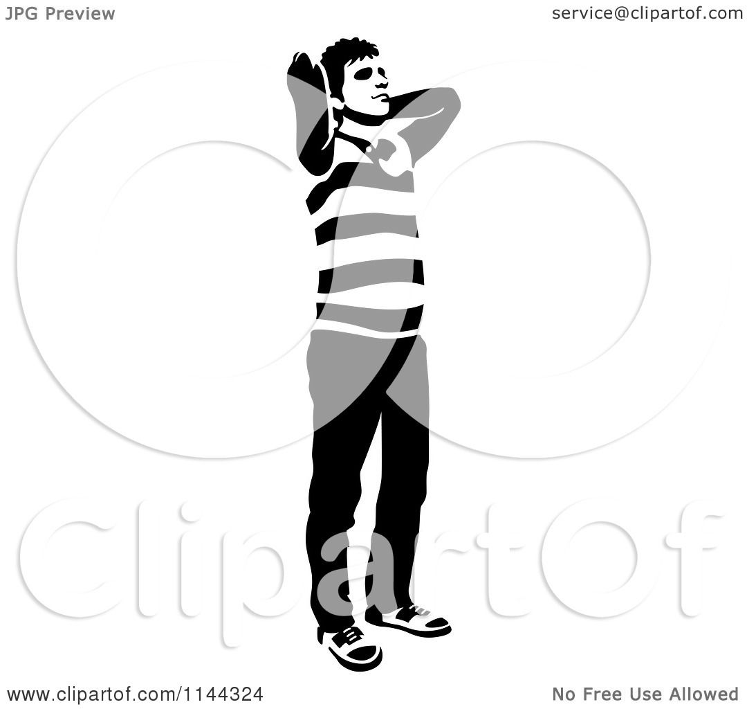 Clipart Of A Black And White Young Man Standing And