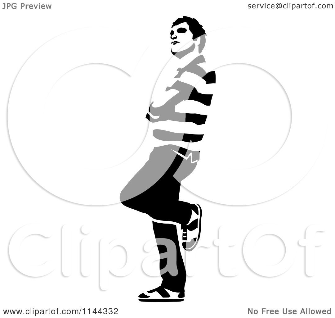 Clipart Of A Black And White Young Man Waiting And Leaning