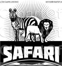 clipart of a black and white zebra and male lion over safari text royalty free [ 1080 x 1024 Pixel ]