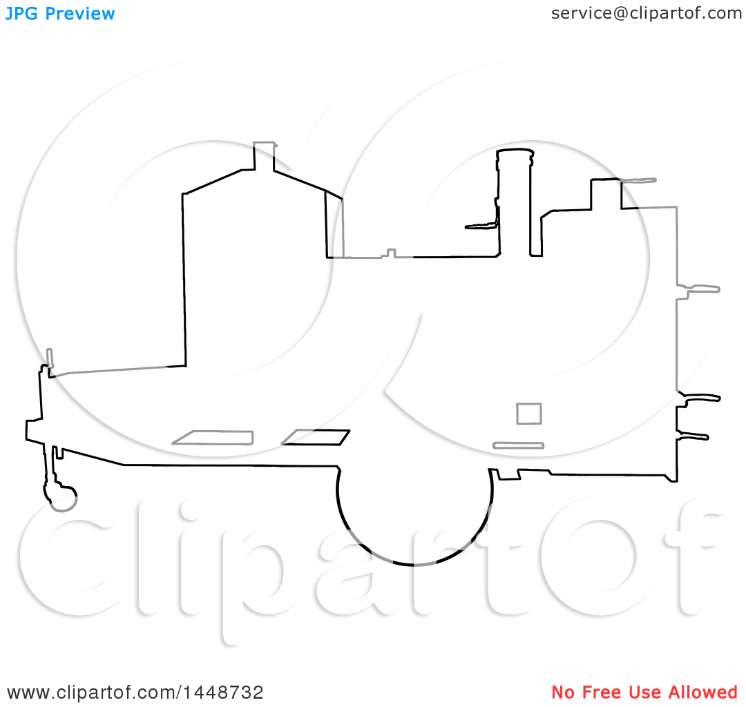 Clipart Of A Black Outline Silhouette Offset Barbeque