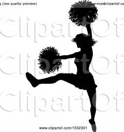 clipart of a black silhouetted cheerleader in action royalty free vector illustration by atstockillustration [ 1080 x 1024 Pixel ]