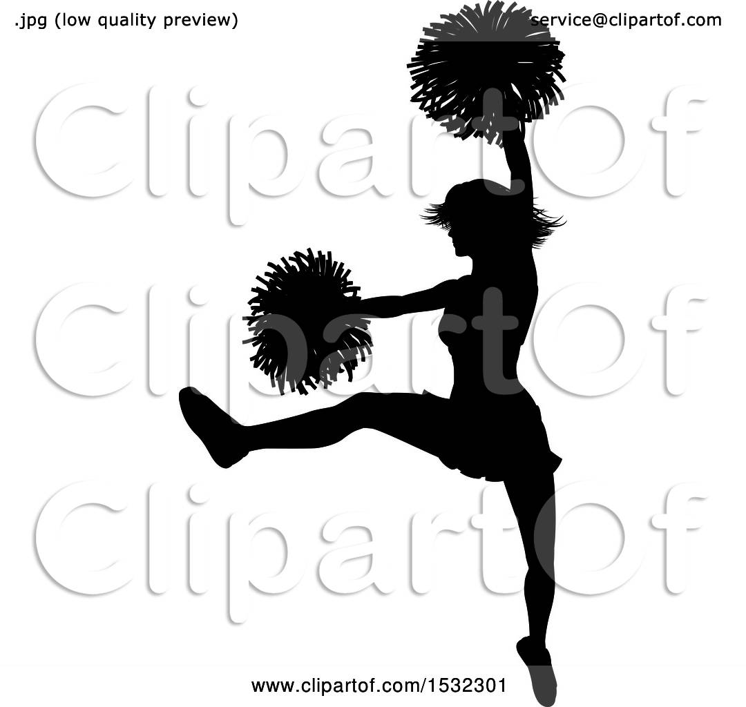 hight resolution of clipart of a black silhouetted cheerleader in action royalty free vector illustration by atstockillustration