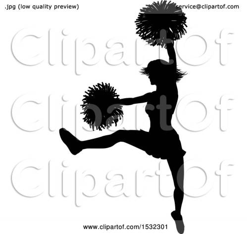 small resolution of clipart of a black silhouetted cheerleader in action royalty free vector illustration by atstockillustration